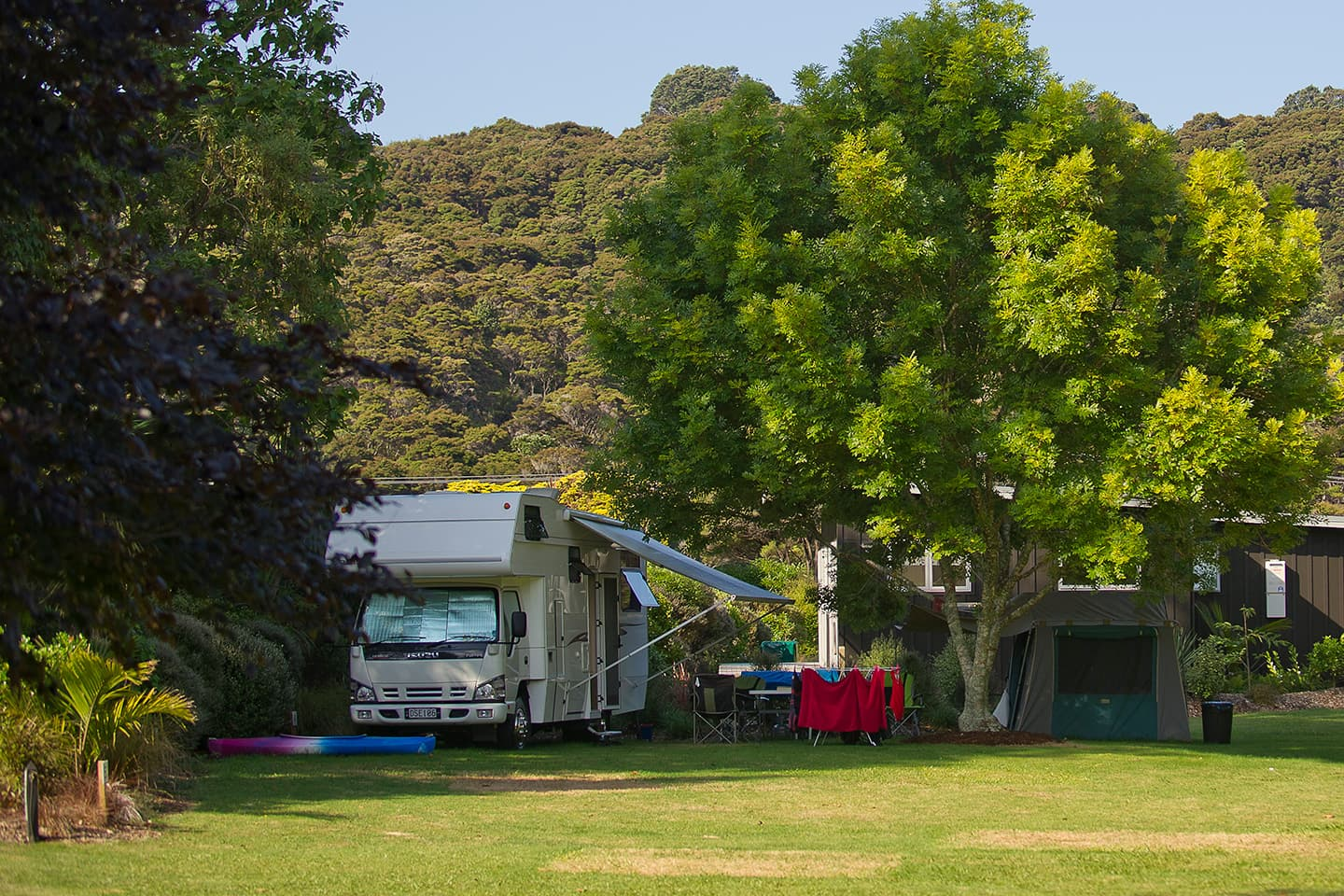 Motorhome campsites at Flaxmill, Cooks Beach